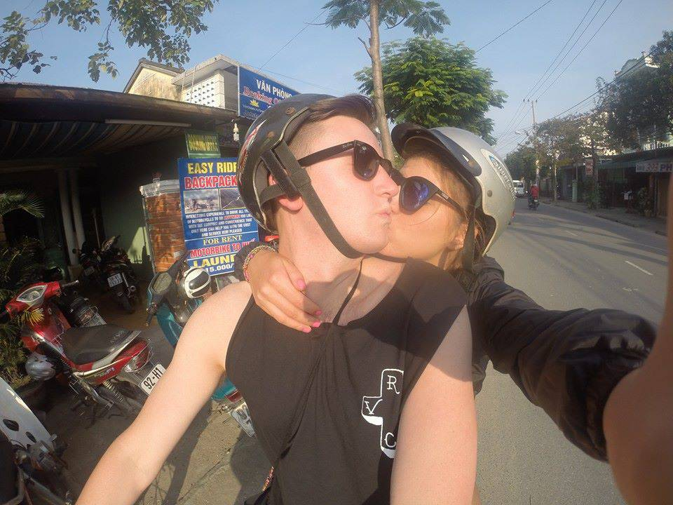 Riding bikes through Hoi An, Vietnam, 2014.